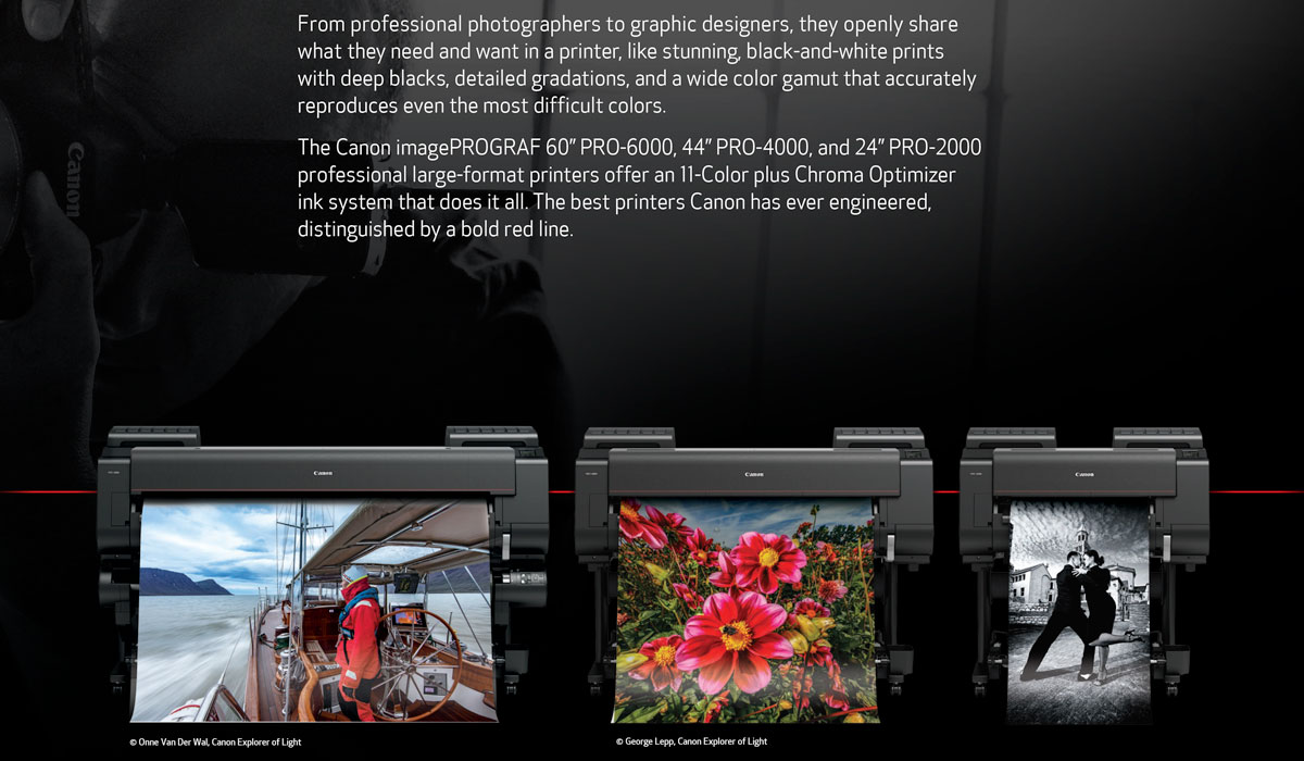 canon imageprograf pro 2000 printer description with pro-4000 and pro-6000 for photographers and graphic designers great black and white prints wide color gamut chroma optimizer