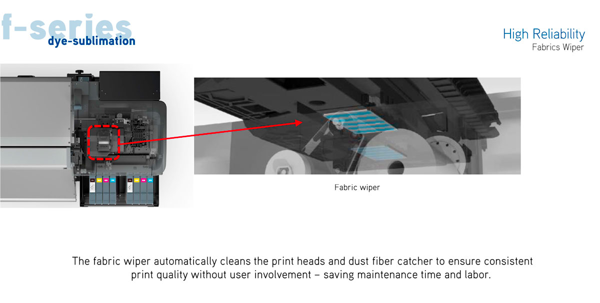 Epson F9370 dye sub printer with features showing reliability with fabric wiper