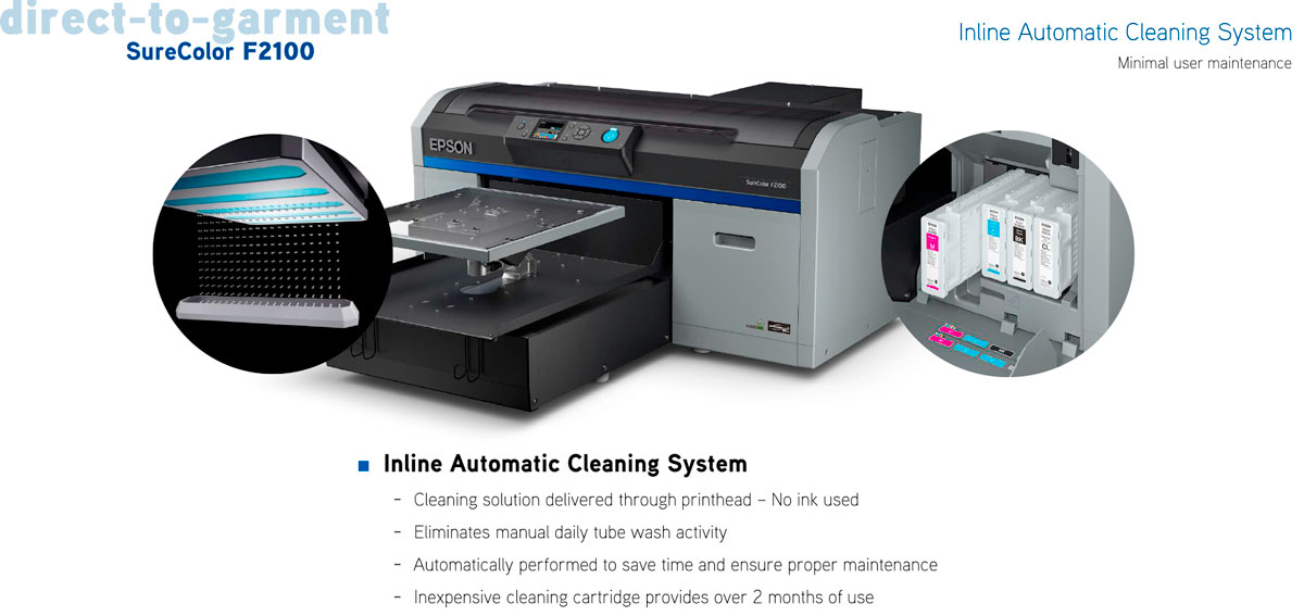 epson surecolor f2100 direct to garment printer dtg showing inline automatic cleaning system for minimal user maintenance