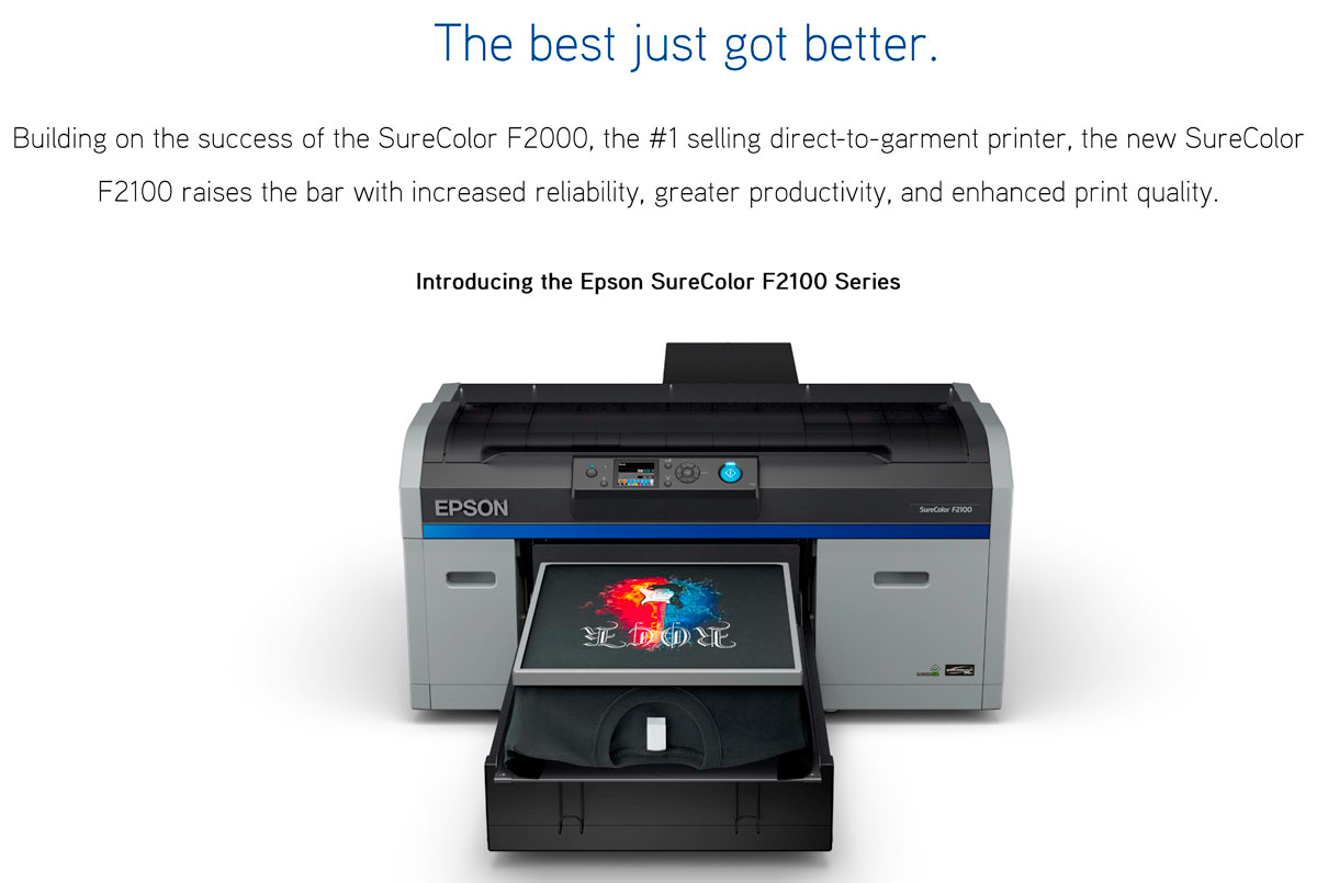 epson surecolor f2100 direct to garment printer dtg showing best printer