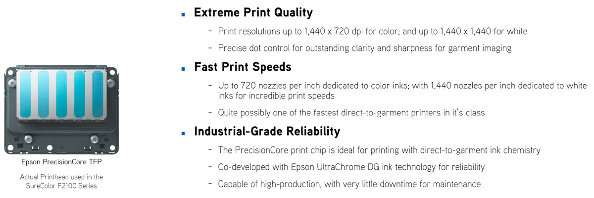 epson surecolor f2100 direct to garment printer dtg showing print quality through fast and industrial printhead