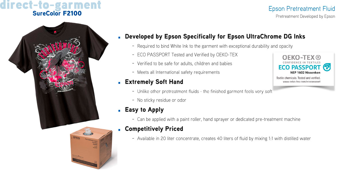 epson surecolor f2100 direct to garment printer dtg showing epson pretreatment fluid to pretreat cotton and polyester shirts with very soft hand