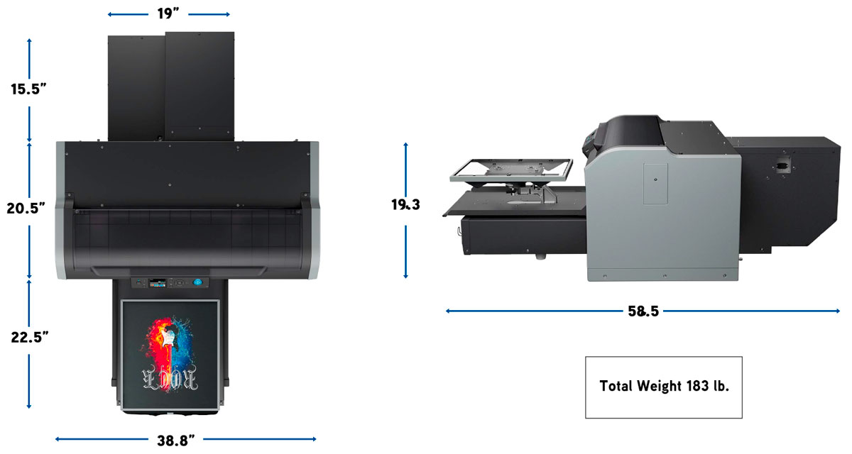 epson surecolor f2100 direct to garment printer dtg showing dimensions from top and bottom and weight