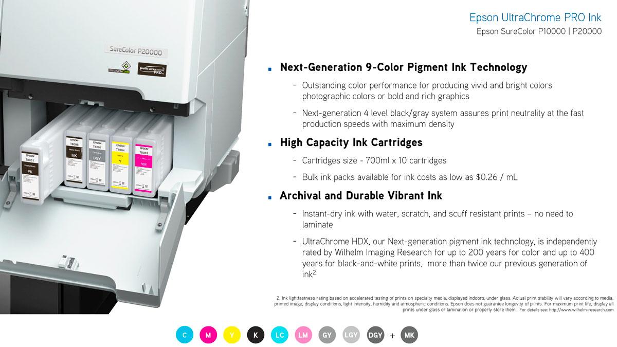 epson surecolor p10000 printer ink features