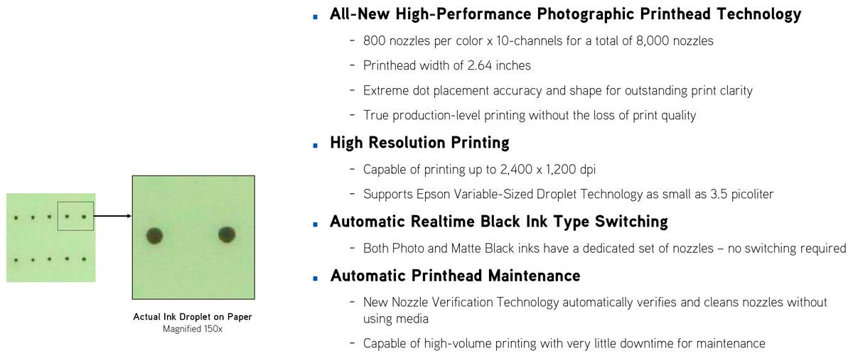 epson surecolor p10000 printer print head features resolution auto maintenance