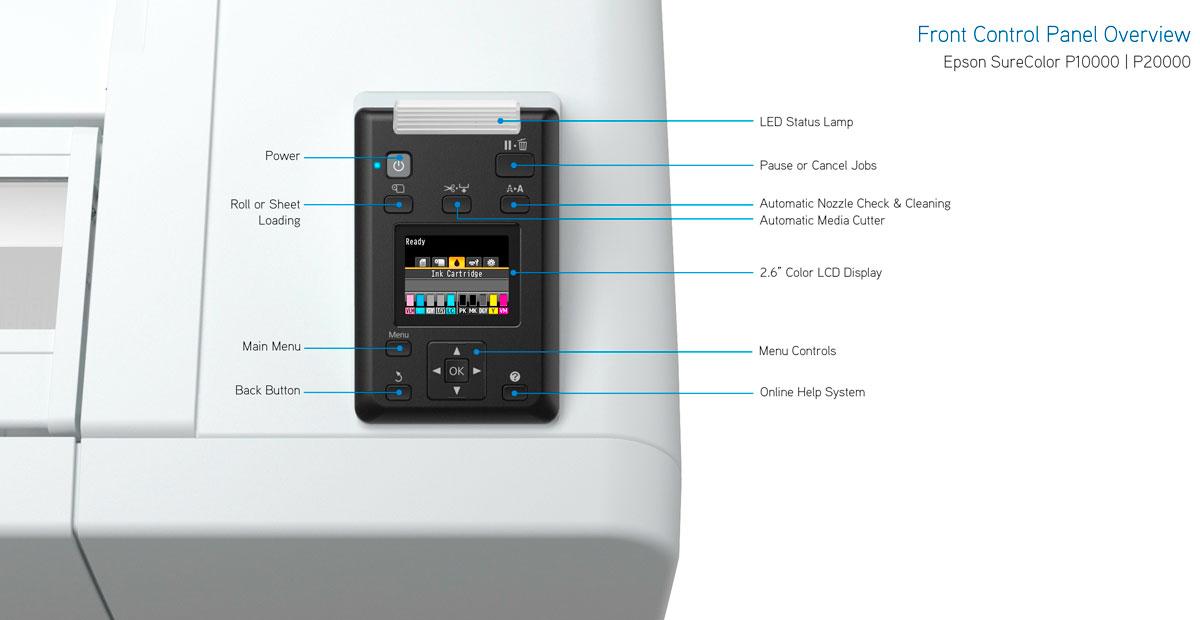 epson surecolor p20000 printer control panel features