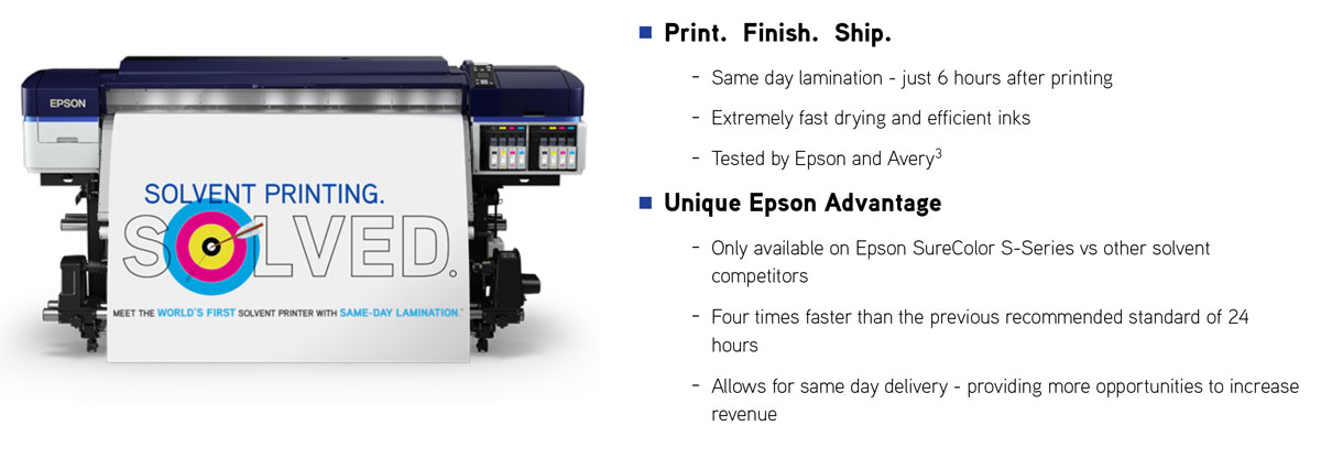 epson surecolor s60600 print cut edition showing productivity including same day lamination fast drying in 6 hours