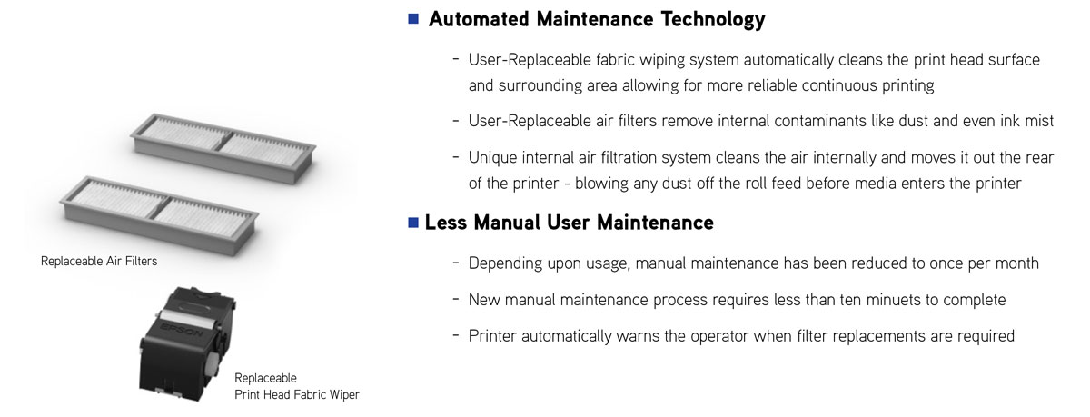 epson s60600 printer features with auto maintenance fabric wiper and filters