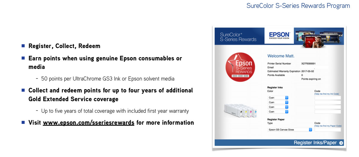 epson surecolor s80600 print cut edition showing rewards points program for rebates