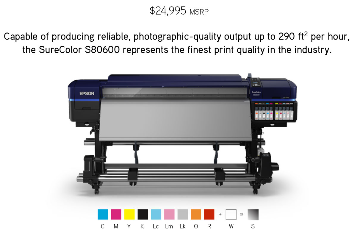 epson surecolor s80600 eco solvent printer showing ink color options