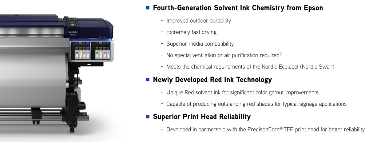 epson surecolor s80600 print cut edition showing ink features including new red fast drying no ventilation outdoor durability