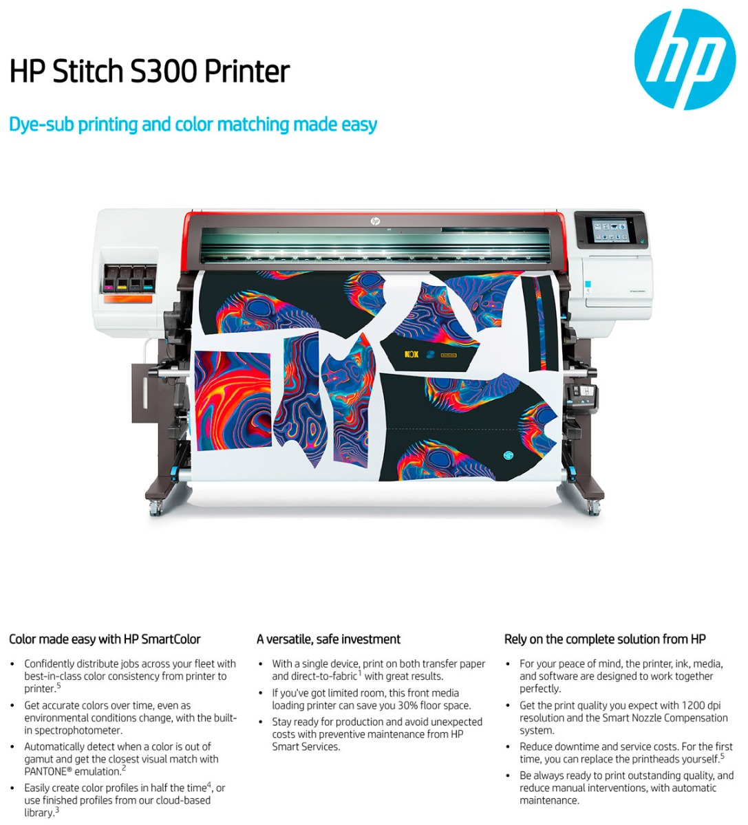 hp stitch s300 printer features including color consistency across printers easy profiling user replaceable printheads auto maintenance and print direct to fabric