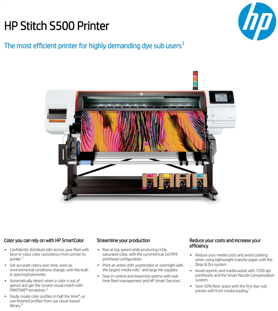 hp stitch s500 printer features including color consistency across printers easy profiling user replaceable printheads auto maintenance and print direct to fabric large ink tanks