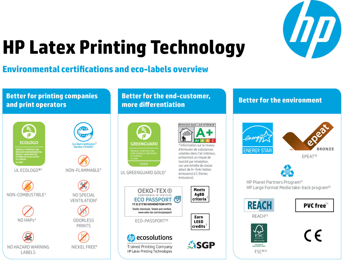 HP Latex 335 print and cut solution eco environmental certifications including eco-passport oeko-tex epteat reach fsc sgp