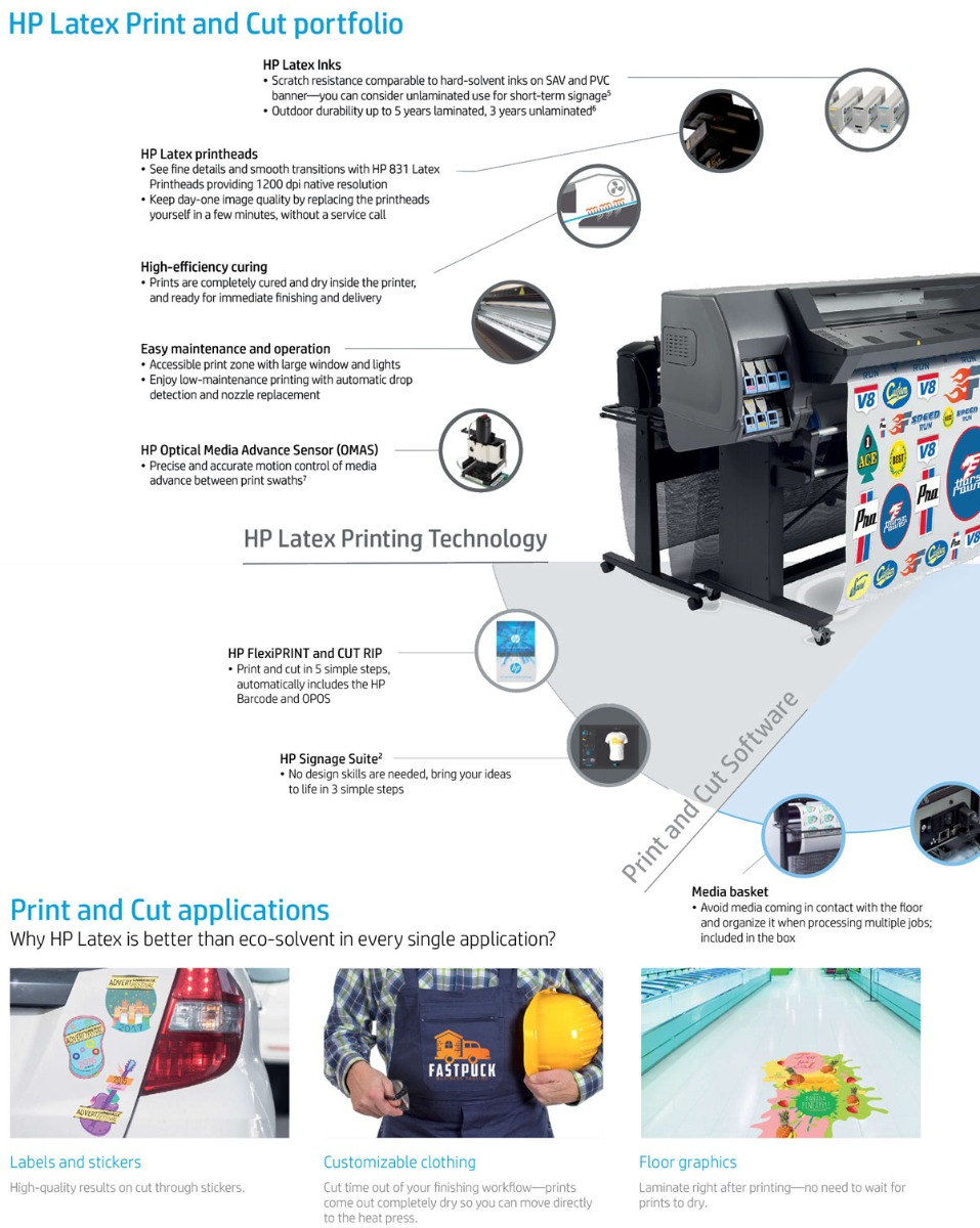 hp latex 335 print and cut solution features showing latex inks for high quality at high speeds latex scratch resistant inks with outdoor durability to 5 years hp latex printheads easy user replaceable high efficiency curing for instant lamination and finishing easy maintenance with auto drop detection built in hp omas sensor for accurate feed of media
