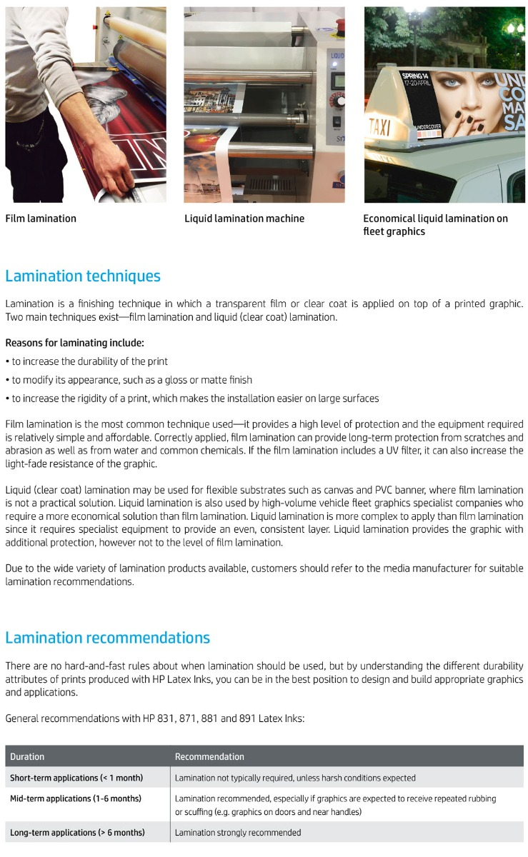 hp latex 315 print and cut solution showing lamination techniques and recommendations for durability short long and mid term