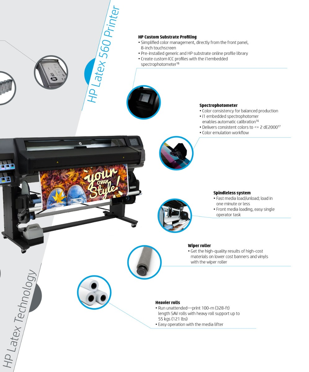 hp latex 560 printer features showing built in custom media profiling with i1 spectrophotometer also offers consistency with auto linearization and spindleless roll media load via pivot table wiper roller for lower quality banner and heavier roll support up to 121 pounds