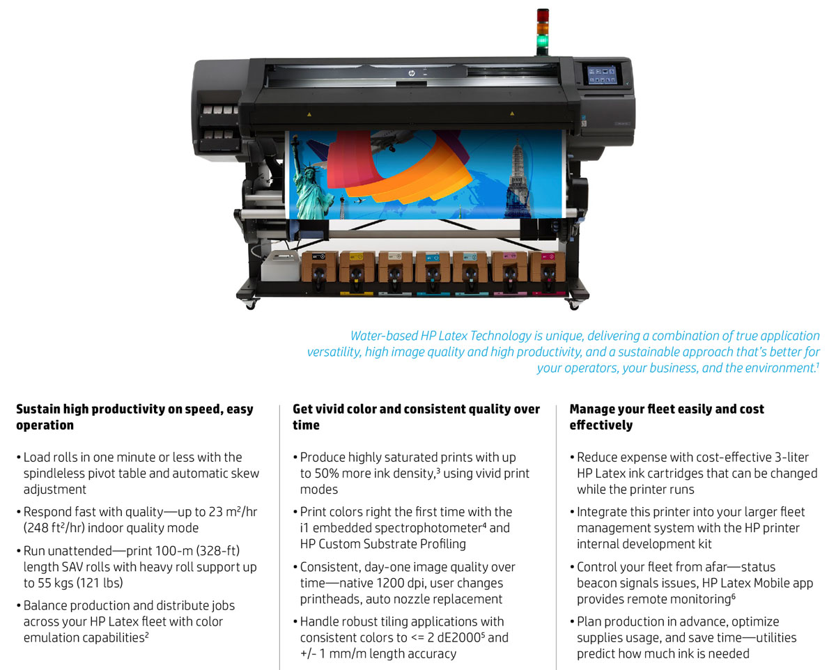 hp latex 570 printer with features including 3 liter ink cartridges super fast printing vivid print modes consistent printing built in i1 spectro for consistent prints accurate feed length easy load system