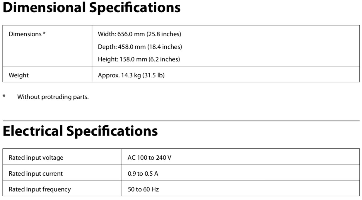 epson expression 12000xl graphic arts scanner technical specs including physical dimensions and electrical requirements