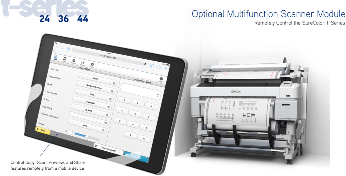 epson surecolor multifunction module for surecolor t5270 and t5270d printers showing control copy scan preview and share from a mobile device