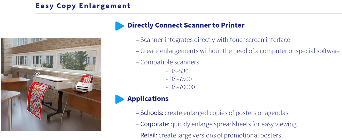 epson surecolor t5170 printer showing easy copy enlargement connecting scanner directly to printer for schools retail and corporate