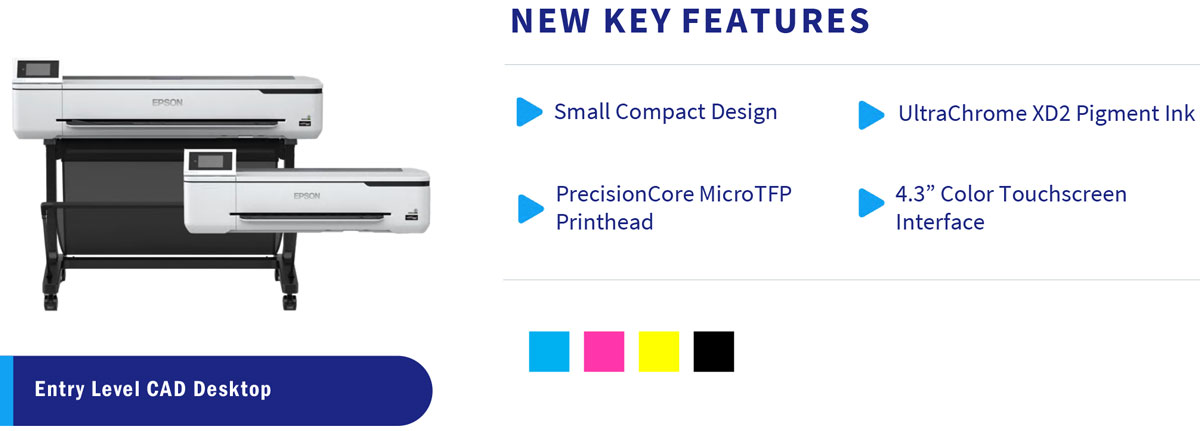 epson surecolor t5170 printer features small compact design precisioncore tfp printhead ultrachrome xd2 pigment ink and 4.3 inch color touchscreen menu interface