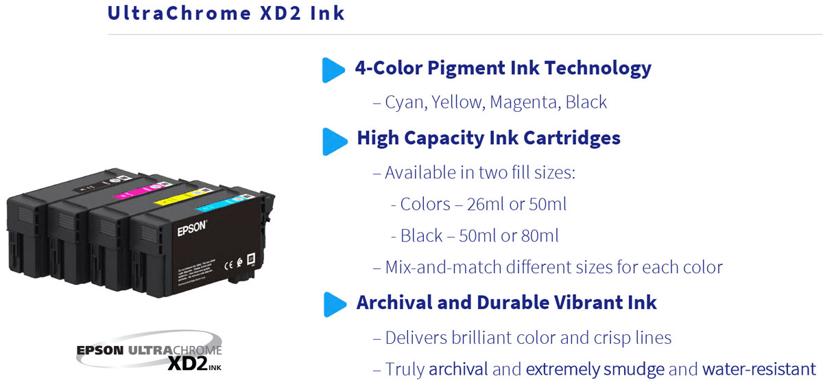 epson surecolor t5170 printer ink features from ultrachrome xd2 4 color high capacity 50ml and 80ml cartridge sizes delivers brilliant color and very durable