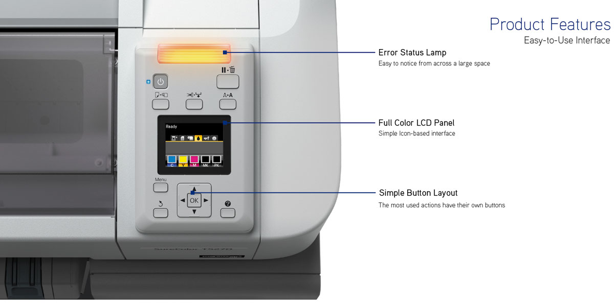 epson surecolor t5270 single roll printer showing easy to use full color lcd panel with simple button layout and error status lamp