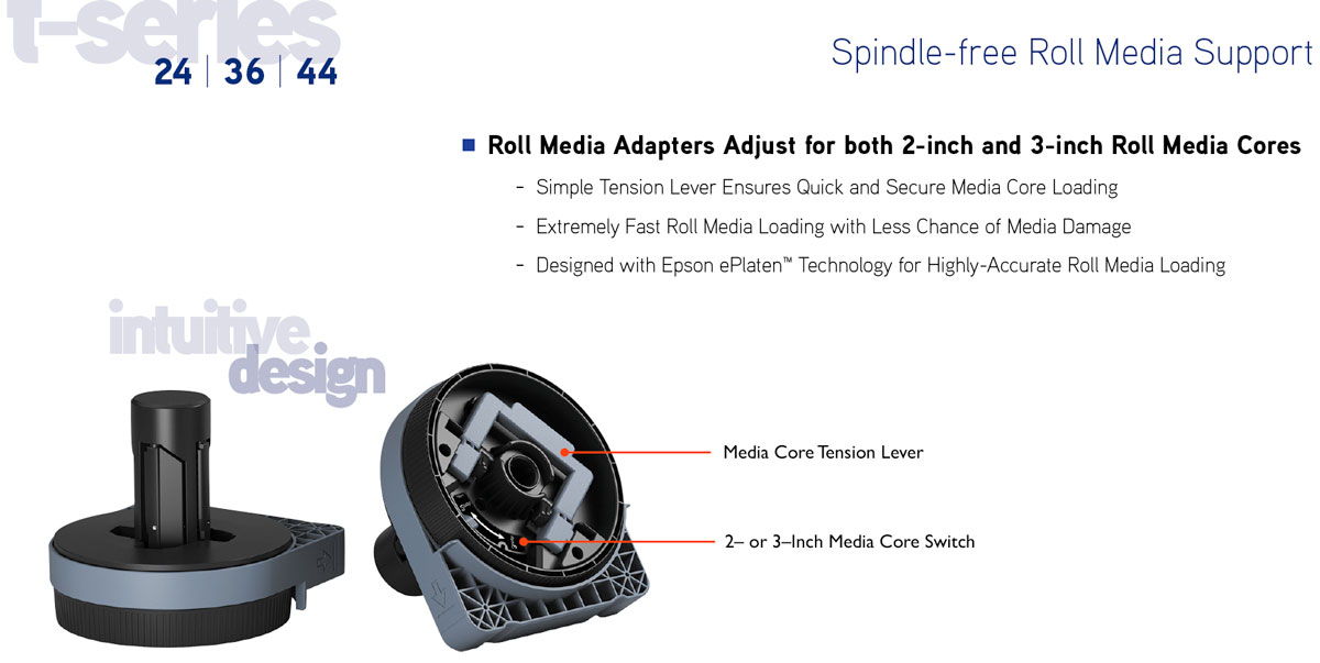 epson surecolor t5270 single roll printer showing spindle free roll media loading with roll adapters featuring 2 inch and 3 inch core easy switching and highly accurate loading and feeding with epson eplaten