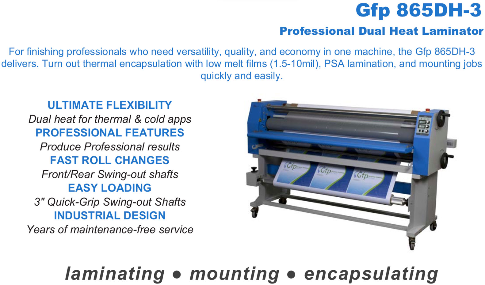 gfp 865dh-3 professional dual heat laminator showing for laminating mounting and encapsulating with dual heat front-rear swing out shafts 3 inch quick grip shafts