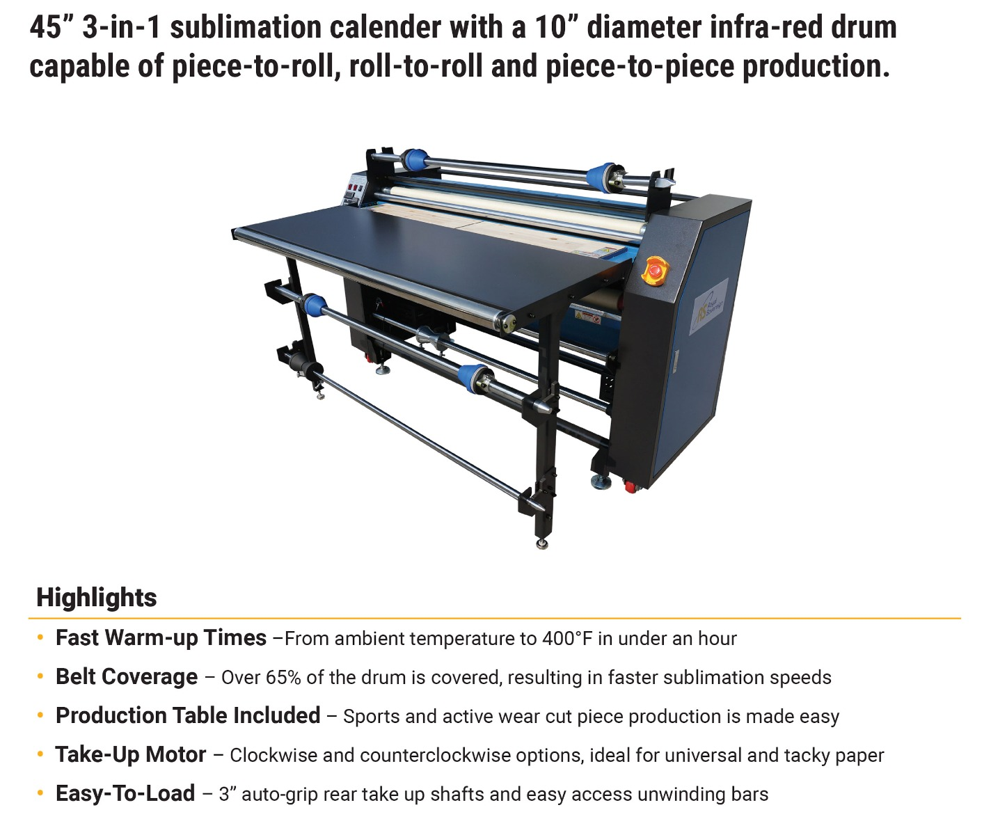 royal sovereign lx-130 calender heat transfer press features including fast warm up times included work production table take up motor easy to load auto grip shafts 10