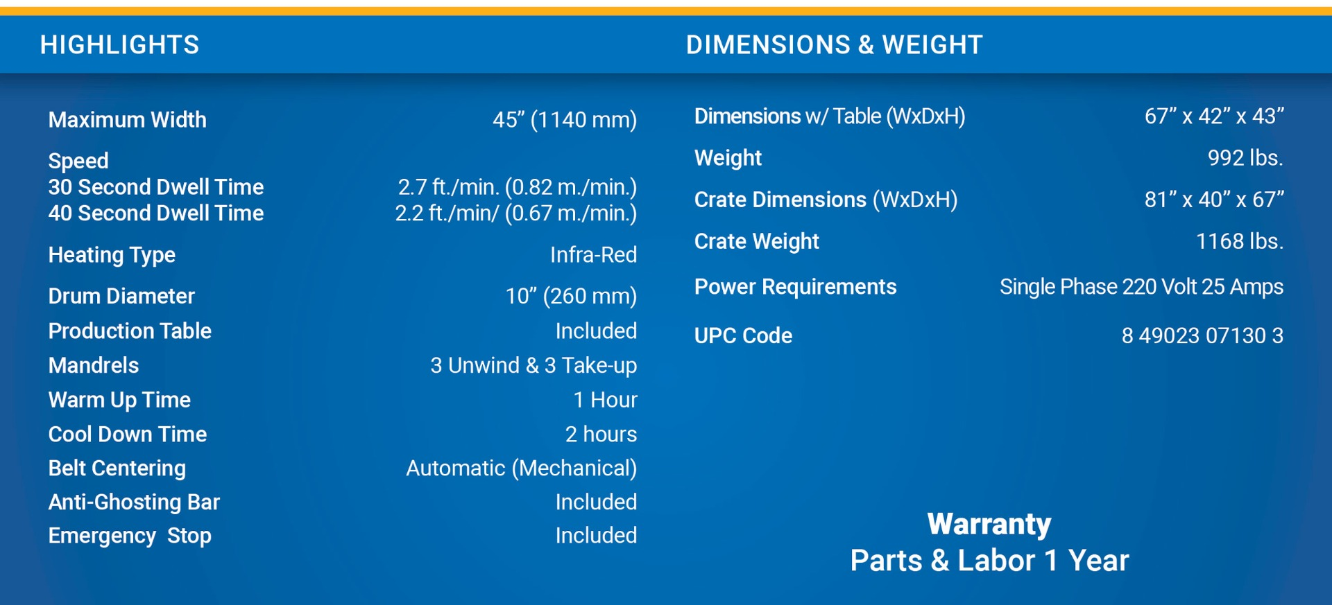 royal sovereign lx-130 calender heat transfer press specs with dimensions and weight speed drum diameter of 10