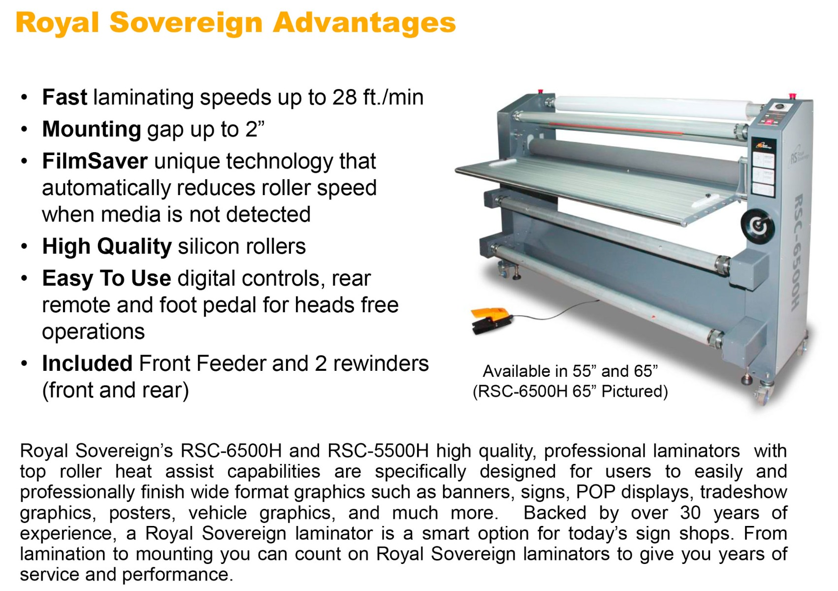 royal sovereign rsc-6500h laminator features including fast up to 28ft per minute 2